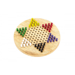 """CHINESE CHECKERS - 7"""" WOOD BOARD ( 6 CLR PEGS)"""