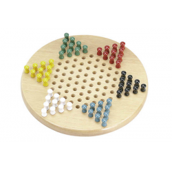 """CHINESE CHECKERS - 11"""" WOOD BOARD ( 6 CLR PEGS)"""