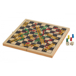 "SNAKES and LADDERS - FOLDING WOOD BOARD ( 11.25"" x 11.25"" )"